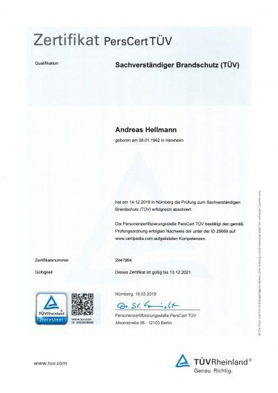 Zertifikat Andreas Hellmann
